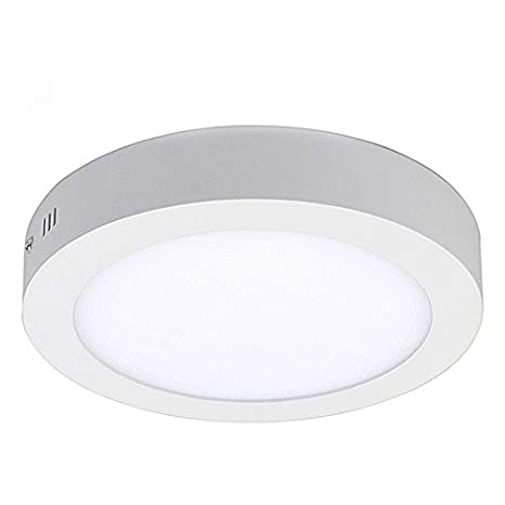 more photos 6d521 11d94 18W LED White Body Round Surface Mount Ceiling Panel Down Light Cool White  6500K Super Bright