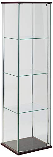 (4-Shelf Glass Curio Cabinet Cappuccino and Clear)