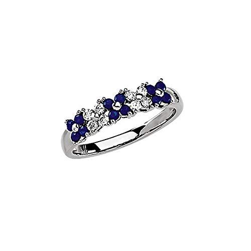 (Gemstone rings, 14K White Sapphire & 1/5 CTW Diamond Ring)