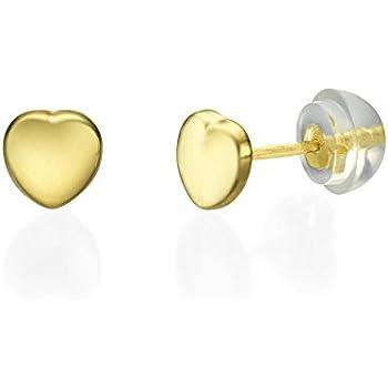 29ee4aaae 14K Fine Yellow Gold Heart Screw Back Stud Earrings for Girls Kids Children  Gift