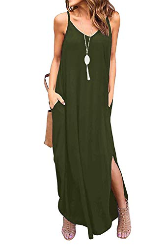 Donnalla Womens Summer Casual Loose V-Neck Dress Spaghetti Strap Sleeveless Split Maxi Dresses(Army Green Medium) Casual Hats Womens Clothing