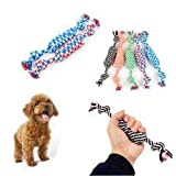 Lurryly❤Puppy Dog Pet Toy Cotton Braided Bone Rope Chew Knot New Random color