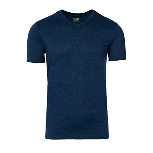 - 32 DEGREES Mens Cool Vneck Tee, Lapis Blue Space Dye, Small