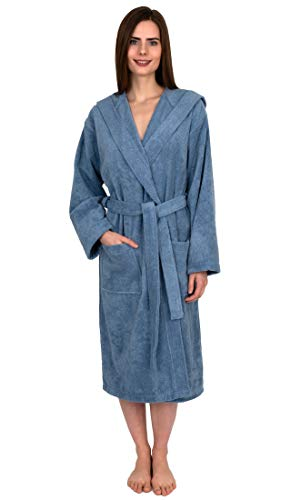 TowelSelections Women's Robe Turkish Cotton Hooded Terry Bathrobe Medium/Large Blue Shadow