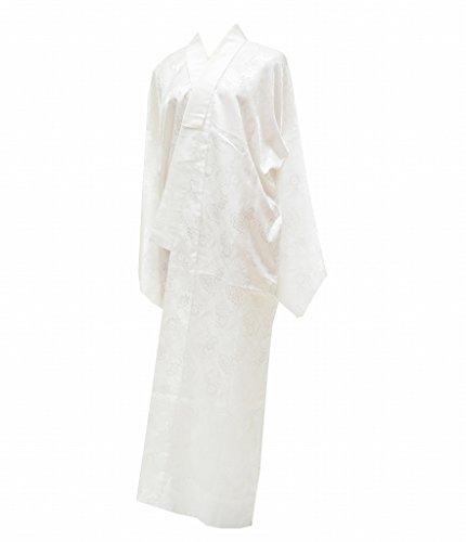 (着物ひととき) 長襦袢 中古 リサイクル 女性 化繊 洗える 白 花文様 裄66cm ながじゅばん 白系 裄Mサイズ ll1709b