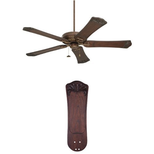 Select 52 Ceiling Fan (Emerson CF4501GBZ Crown Select Ceiling Fan, Gilded Bronze with Emerson B97DWA 25-Inch Ornate Hand Carved Wood Blades)