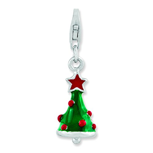 Amore La Vita Sterling Silver 3-D Enameled Christmas Tree with Lobster Clasp Charm
