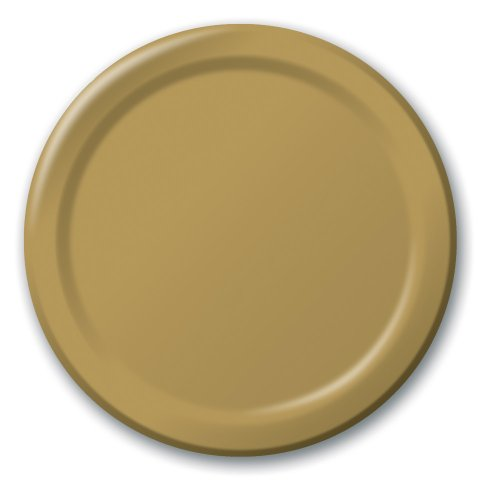 Glittering Gold Paper - Creative Converting Touch of Color 24 Count Paper Banquet Plates, Glittering Gold