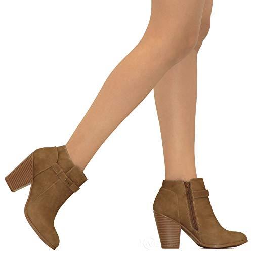 Side Stacked Taupe Ankle Crisscross Booties MVE Heel H Zip Block Bootie SHOES Women's Buckle High R8Oq4wX