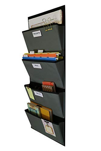 (Hanging File Organizer | Over The Door File Organizer | Fabric File Organizer For Magazines, Notebooks, Mail, Books and More | 4 Pockets (Grey on Black))