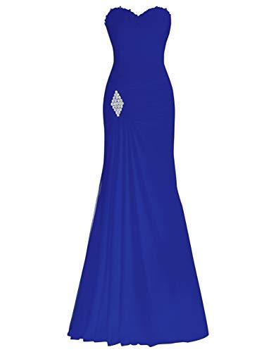 Promenade Di Blu Da Sera Sirena In Bess Di Partito Nuziali Royal Perline Donne Sul Vestito Pizzo Chiffon Bvx1ASw