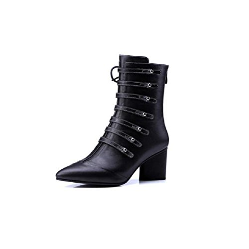 wdjjjnnnv Thick with Fashion boots Pointed High-heeled Scrub Short boots Belt buckle Genuine Leather Women's Ankle Boots Shoes 1-35