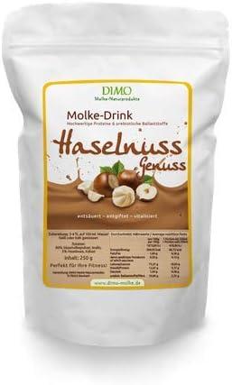 Molke Drink Haselnuss mit prebiotischen Ballaststoffen - Molkepulver 250 g - Trinkmolke der Hit