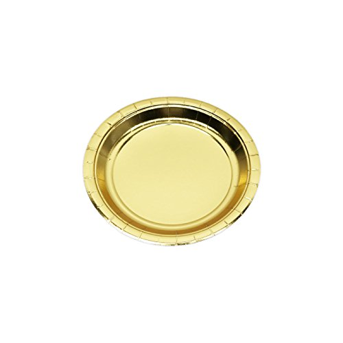 Andaz Press Gold Foil Dessert Plates, 7-inch, 8-Pack, Shiny Metallic Colored Wedding Birthday Baby Shower Party Supplies -