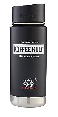 Koffee Kult Klean Kanteen Travel Mug Wide Mouth Insulated Bottle Cafe Cap BLACK - 16oz