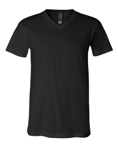 [Bella + Canvas Unisex Jersey Short-Sleeve V-Neck T-Shirt, XS, BLACK] (Co Fitted T-shirt)