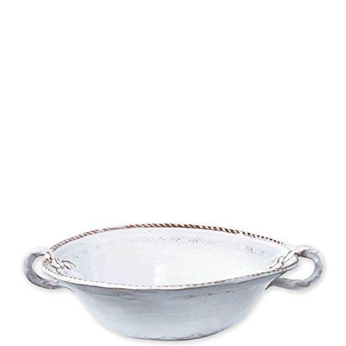 - Vietri Bellezza Stone White Medium Handled Serving Bowl
