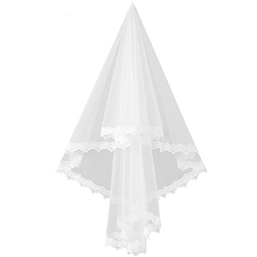 Jdress Soft Lace Edge Bridal Veil Fingertip Length Wedding