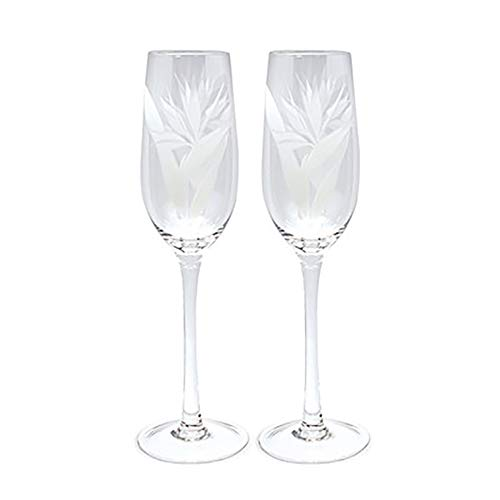 Etched Champagne Flute Set Bird Of Paradise