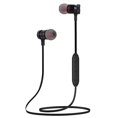 Bluetooth Headphones Wireless Sports Earbuds Sweatproof Headset Magnetic attraction Stereo Earphones for Running Workout Gym Noise Cancelling Proshine(Black)