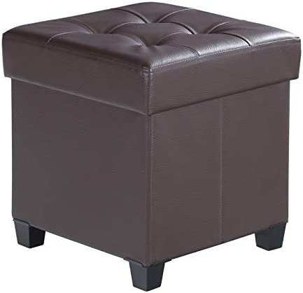 SONGMICS Collapsible Cube Storage Ottoman Foot Stool Comfortable Seat with Wooden Feet and Lid, Soft Padding, Faux Leather, Brown ULSF14BR