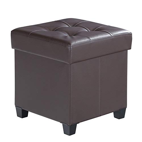 (SONGMICS Collapsible Cube Storage Ottoman Foot Stool Comfortable Seat with Wooden Feet and Lid, Soft Padding, Faux Leather, Brown ULSF14BR)