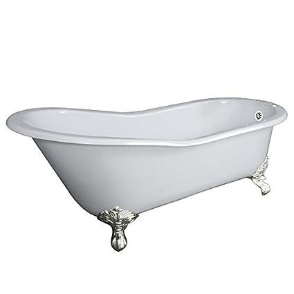 Claw Foot 61u0026quot; Cast Iron Slipper Bathtub With 7u0026quot; Faucet Hole  Drillings U0026 Brushed