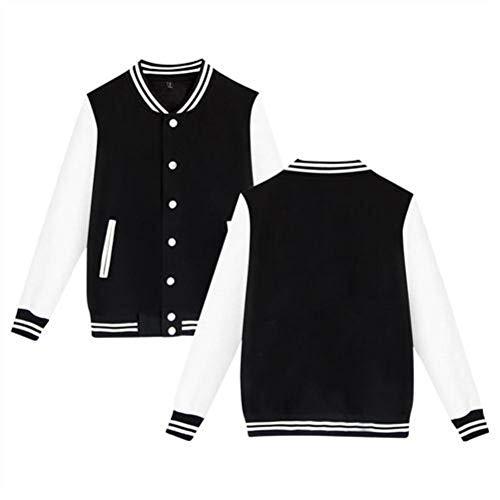 Dj Green Cool Smiley Face Women's Long Sleeve Plus Velvet Baseball Uniform Jacket Uniform Sports Jacket Black S