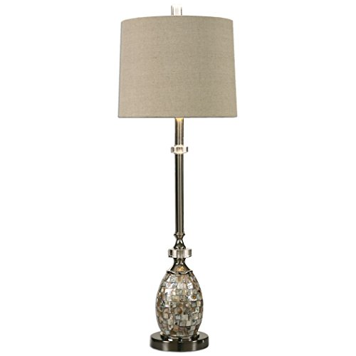 Capiz Shell Mosaic Tiles Buffet Table Lamp Beach Coastal Decor Light ()
