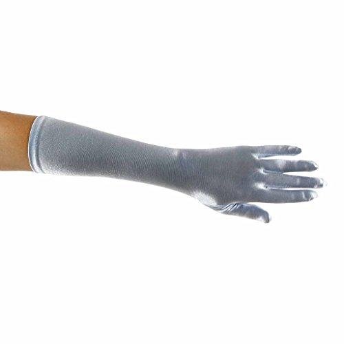 Long Nylon Light Blue Gloves (Showstopper Shiny Satin Elbow Gloves for Girls (Light Blue, 13-15))