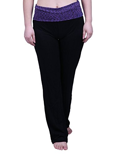 HDE Women's Maternity Yoga Pants Comfortable Lounge Pregnancy Pants Folded Waist,Purple Space Dye,XX-Large