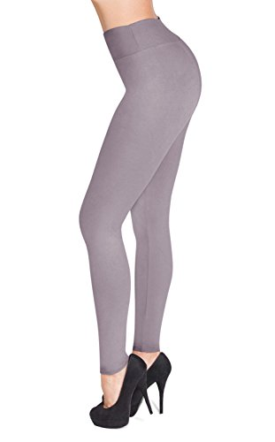 SATINA High Waisted Leggings - 22 Colors - Super Soft Full Length Opaque Slim (One Size, Lilac Gray) -