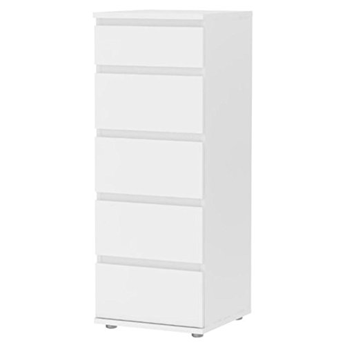 Pemberly Row Modern Sturdy 5 Drawer Tall Narrow Chest in White for Bedroom Storage Cabinet, Lingerie Chest, Accent Cabinets (Lingerie Drawers Chest Of)