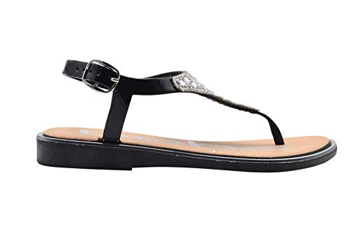 bebe Girls Sandal 13-1 M US Little Kid PCU Dress Slip On Thong Summer Shoe Sandals with Rhinestones Black/Silver ()