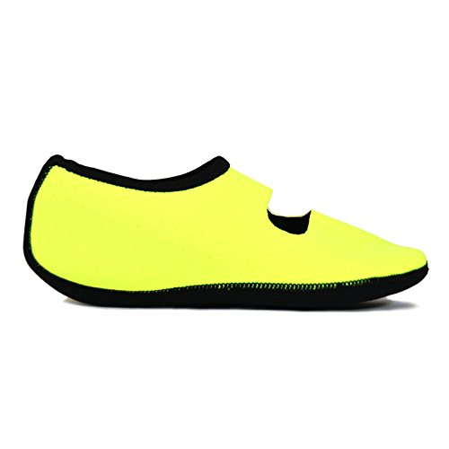 NuFoot Mary Janes Womens Shoes, Best Foldable & Flexible Flats, Slipper Socks, Travel Slippers & Exercise Shoes, Dance Shoes, Yoga Socks, House Shoes, Indoor Slippers, Neon Yellow, Medium