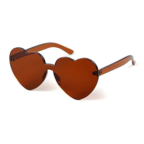 Heart Shaped Rimless Sunglasses Candy Steampunk Lens for women girl (brown, 63) -