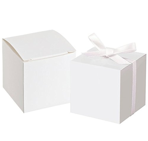 Awtlife 50pcs White Favor Box With 50 Ribbon For Wedding Favor Party Decor 2 inch Square Candy Gift Boxes -