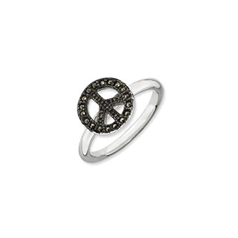 2.25mm Sterling Silver Stackable Marcasite Peace Sign Ring Size 6 (Marcasite Rings Size 11)