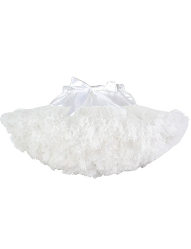 (Baby Girls Tutu Skirt Princess Fluffy Soft Chiffon Ballet Birthday Party Pettiskirt White S)