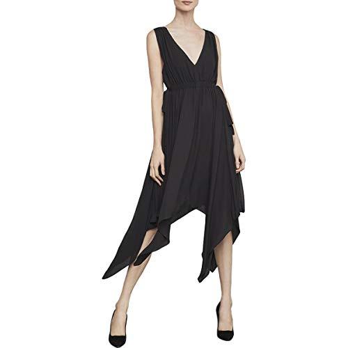 BCBG Max Azria Womens Asymmetric Handkerchief Midi Dress Black S ()
