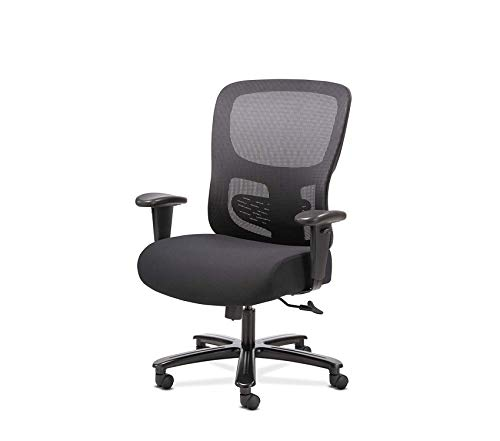 Premium Sadie Big and Tall Office Computer Chair, Height Adjustable Arms with Adjustable Lumbar, Black