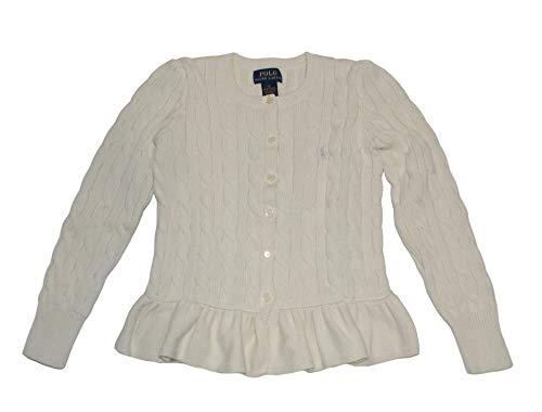 RALPH LAUREN Polo Girls Cotton Peplum Cable Cardigan Sweater - Girls Cardigan Lauren Ralph Sweater