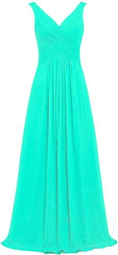 Neck Long Mint Chiffon Gowns Sleeveless Women's Dresses Bridesmaid V ANTS EOwIPqFP
