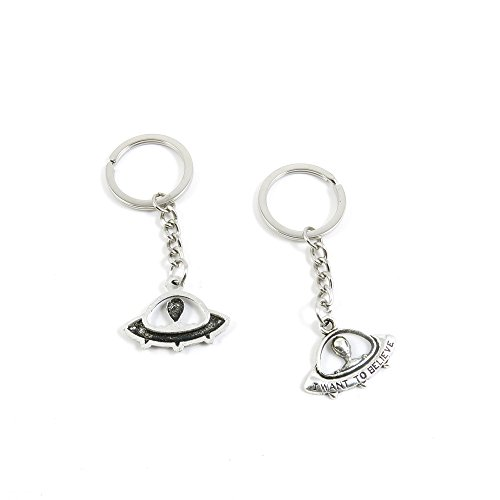 10+Pieces+Keychain+Door+Car+Key+Chain+Tags+Keyring+Ring+Chain+Keychain+Supplies+Antique+Silver+Tone+Wholesale+Bulk+Lots+R3SS7+Alien+UFO+ET