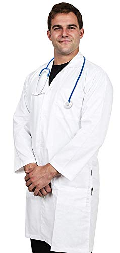 Utopia Wear Professional Lab Coat Men -Laboratory Coat 41 Inch Kick Pleat -