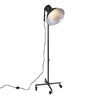 QAZQA Industrial Lámpara de pie industrial gris oscuro 1-luz ...