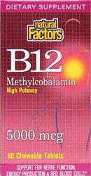Natural Factors Vitamine B12 Methylcobalamin Comprimés 5000mcg, 60-Count