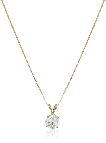 14k Yellow Gold 6.5mm Round Cubic Zirconia Solitaire Pendant Necklace (1 carat, Diamond Equivalent), 18