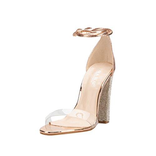 Mujer de de Gold tacón de señora de Sandalias tacón Cuadrados Sandalias de Talones Zapatos Aguja qtHR7wx