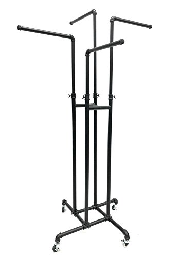 (TY-PR221-4) Boutique Pipe 4-Way Clothing Rack with Straight Arms. Color: Black by Roxy Display
